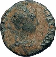AELIA FLACILLA Theodosius I Wife 383AD Ancient Roman Coin VICTORY CHI-RHO i67664