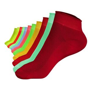 12 Pairs Mens Sports Polyester Colour Mix Ankle Socks Elastic Fluorescent Footie