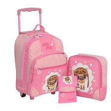 Kindertrolley 3er SET Keanu Little Pilot Kitty Trolley Rucksack Brustbeutel Pink