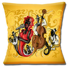 "NEW Vintage Retro Jazz Singer Jazz Musicians Yellow 16"" Pillow Cushion Cover"