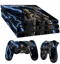 PS4 PRO aderente GRIM REAPER ANGEL OF DEATH HORROR ADESIVO + 2 x TAPPETINO VINYL