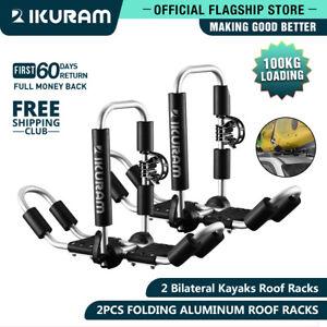 IKURAM 2 bilateral kayaks roof racks Carrier canoe holder Folding Universal