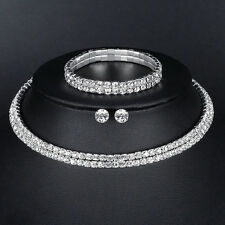 Silver Circle Crystal Wedding African Jewelry Set Necklace Earrings Bracelet