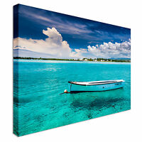 Blue bay at mauritius Canvas Wall Art Picture Print