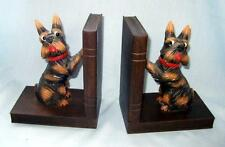 Vintage Brown Wood Carved Scottie Scotty Dog Bookends - Germany