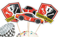 12 RACE CAR RACING CHAMPIONSHIP PARTY PICKS TABLE DECORATION  *** PICKS ONLY ***