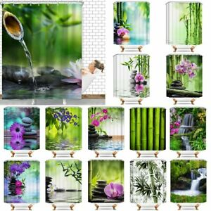 Bamboo & Waterfall Waterproof Polyester Bathroom Shower Curtain With Free Hooks