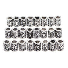 1 Set Hair Beard Beads Viking Norse Runic Futhark Alphabet Charm Gift Silver