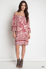 UMGEE Bohemian Cowgirl Paisley Day Dress Red A1025