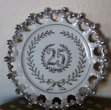 25th Wedding Silver  Anniversary Bow Plate Gift Occasion Celebration Party