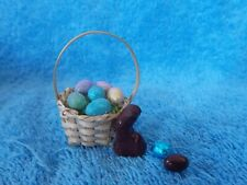 Barbie Doll Size Easter Basket, Fake Chocolate Bunny & 2 Eggs 1:6 Scale Diorama