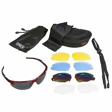 CHEX Ace Sunglasses Sports Glasses 5 Interchangeable Lenses Red Flexible Frame