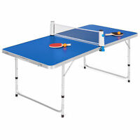 BCP 58in Portable Folding Ping Pong Table Game Set w/ Balls, Paddles, Net