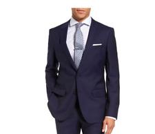 Hugo Boss Mens Reda Super 110 Huge/Genius Trim Fit Navy Wool Coat/Jacket US 40R
