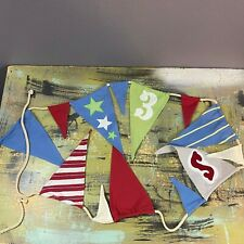 "Pottery Barn Kids Baseball Flags Pennant Banner Wall Hanging Garland 120"""