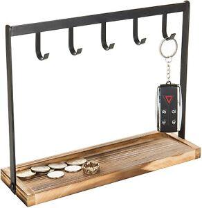 5-Hook Burnt Wood & Black Metal Tabletop Key Holder, Jewelry Organizer Rack