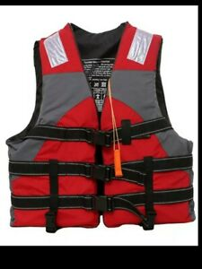 Outdoor rafting  RED life jacket  swimming water sport size 2 XL  85 -100 kg