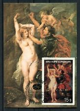 SAO TOME 1977 Nude painting maximum card FDC (1892)