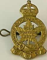 WWII Royal Montreal Regiment Canada Cap Badge with Kings Crown