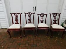 Mahogany Dining Chairs Set of 4 Chippendale Style Claw Feet Beige Upholstery