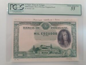 bank portugal 1000 Escudos 6 BANKNOTES 18/11/1932 face progress proof