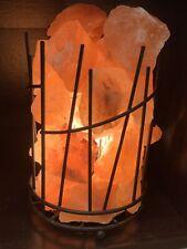 Wrought Iron Basket Lamp with Himalayan salt chunks