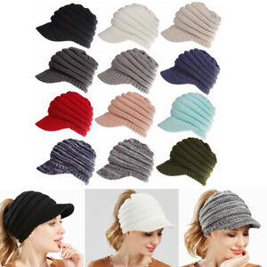 Lady Baseball Cap Knitted Cap  Horsetail Hats Foldable Visor Cap Sports Style
