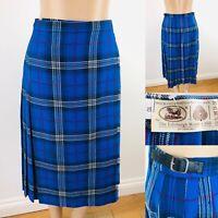 The Edinburgh Woollen Mill Kilt Skirt Blue/White/Red UK 10 Pure New Wool Immacul