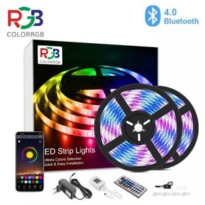 STRISCIA LED RGB 10M 5050 MULTICOLORE+TELECOMANDO CONTROLLO LUCI+BLUETOOTH APP.