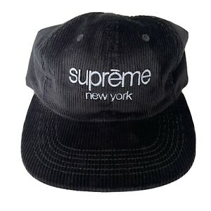 SUPREME 2015 S/S CORDUROY CLASSIC LOGO 6-PANEL CAP BLACK  CAMP CAP HAT BOX LOGO