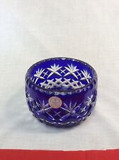 Crystal Clear 24% lead crystal made in poland blue dish vintage tableware