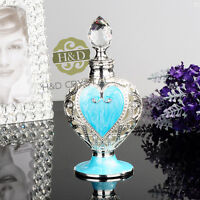 Vintage Empty Blue Crystal Cut Glass Metal Perfume Bottle Stopper Home Decor 8ml