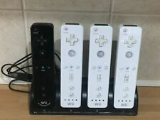 4 Official Nintendo Wii Controllers Remotes + Rechargeable Batteries & USB Dock