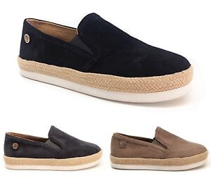 New Women Ladies Slip On Trainers Plimsolls floafers Shoes In Black