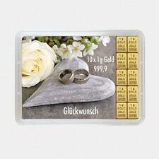 Barren Gold Hochzeit 10 g mit 10x 1 g Goldbarren in Geschenkverpackung 999,9