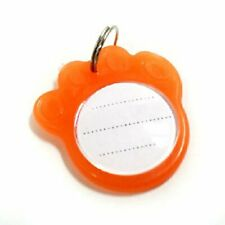 Set of 3 Reflective ID Dog Tags - You Personalize - Orange Paw Print - puppy pet