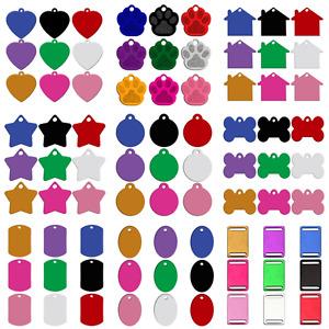 20 Stück Hundemarken Adressanhänger Aluminium Ohne gravieren Pfote/Herz 9 Farben