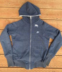 VTG NIKE Sherpa Lined Hoodie Sweatshirt Zip Up Grey Women's Size M Sportswear