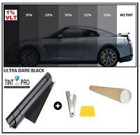PRO SCRATCH RESISTANT CAR WINDOW TINT TINTING FILM ULTRA LIMO BLACK 1% 76cm x 3M