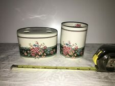 Vintage Croscill GRANADA Cabbage Rose Toothbrush Holder & matching cup Japan