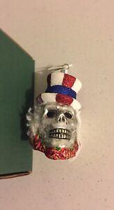 Slavic Treasures Blown Glass Ornament Skeleton Uncle Sam Patriotic Skull