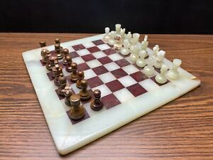 Vintage Marble Chess Set Board And 32 Pieces White & Brown