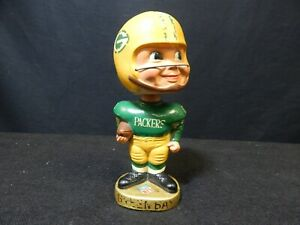 "VINTAGE 1968 NFL GREEN BAY PACKERS FOOTBALL NODDER BOBBLE HEAD 7"" MADE IN JAPAN"