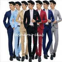 Men Formal Wedding Bridegroom Suit One Button Slim Fit Jacket Tuxedos Coat Pants