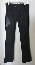 Ralph Lauren Italy Black Label Collection Leather Police Moto Jeans Pants 27
