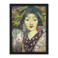 Henry Geisha Girl Detail Painting Large Framed Art Print