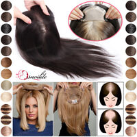 Hand-Made Women's Human Hair Topper Toppiece Toupee Clip In Hairpiece Extensions