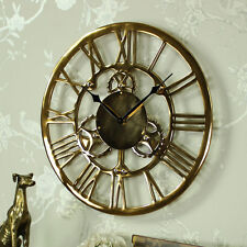 Gold metal cog skeleton wall clock industrial vintage chic Roman numeral gift