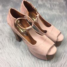 Jeffrey Campbell Foxy Pink Suede Peep Toe Platform Heels Sz 7 *Read