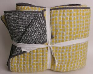 Pottery Barn Teen King *sample* quilt, yellow & gray, modern (maybe west elm)